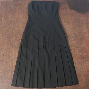THEORY Wool Black Pleated Drop Hem Dress